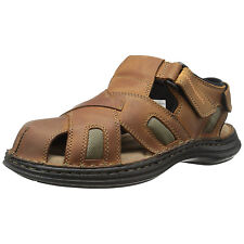 Hush Puppies RELIEF FISHERMAN Mens Brown Leather Closed Toe Strap Sandals