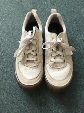 Caterpillar Mens Wide Fit White Leather Trainers Size 9/43