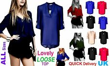 Women Long Sleeve Sheer Chiffon Plus Size Long Shirt Dress Top Blouse Kaftan 'Cs