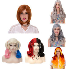 Synthetic Harley Quinn Straight Curly Wig Anime Cosplay Party Full Wigs Costume