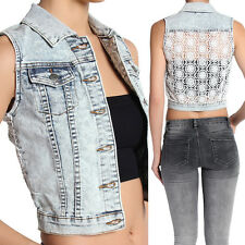 TheMogan Eyelet Lace Back Light Wash Denim Vest Sleeveless Jean Jacket