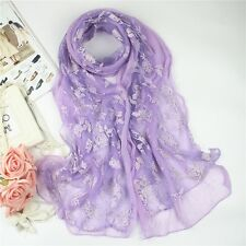 Womens Summer Scarf Floral Embroidery Print Mesh Long Soft Sunscreen Shawl Wrap