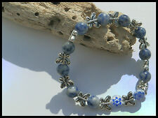 8mm GEMSTONE OR GLASS BEADED STRETCH SILVER BUTTERFLY CHARM BRACELET MIXED SIZES