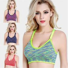 Seamless Women Yoga Fitness Workout Tank Top Racerback Stretch Padded Sports Bra
