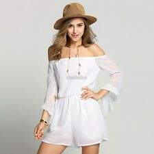 Sexy Women Off Shoulder Bandeau Playsuit Summer Beach Shorts Jumpsuit Mini EFFU