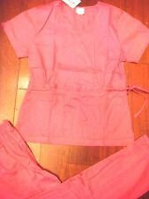 #1063 STRETCH FABRIC Medical Hospital Nurses Uniform Fashion Scrubs Set Hot Pink