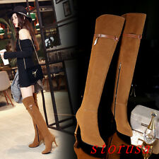 Stiletto Heel Women Over Knee High Boots Shoes Pointy Toe Knight Boots Size New