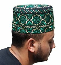 Tall Omani Arab Style African Kufi Hat Black Base Green and Yellow Embroidery