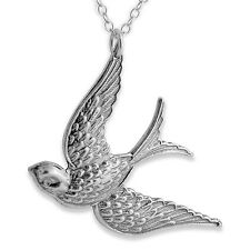 Flying Sparrow Charm Pendant Necklace #925 Sterling Silver #Azaggi N0077S
