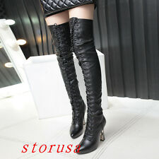 Black Women High Metal Heel Lace Up Over Knee High Boots Knight Luxury Shoes New