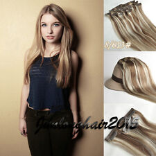 150g 8pcs Straight Remy Clip In Real Human Hair Extensions Mix Blonde Full Head