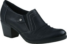 Earth Origins KACIE Womens Black Leather Slip On Shooties Pumps Heels Shoes