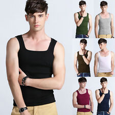 Mens Tank Top vest Ribbed Undershirt Ribbed Cotton sleeveless fashion T-shirt