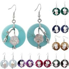 Earring Vintage Crystal Floral Shell Hollow Out Dangle Hook Stone Women Jewelry
