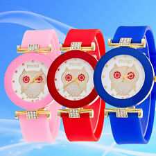 Women Owl Silicone Diamond Watch Jelly Gel Quartz Analog Sport Wrist Watches