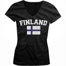 Finland Distressed Soccer Flag - Finnish Pride Suomi Juniors V-neck T-shirt