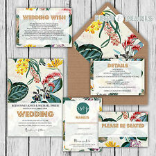 Personalised Luxury Wedding Invitations Tropical Watercolour Floral Packs of 10