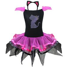 Halloween Kids Girl Cat Kitty Cosplay Costume Outfits Tutu Dress + Ear Headband