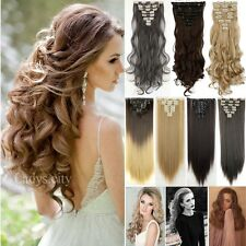 Real 8PCS Clip In Hair Extensions Piece Hair Extention Wavy Straight Brown NFS