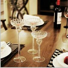 Glass Candle Holder Candlestick Stand Tealight Wedding Party Dining Table Decor