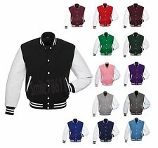Premium Wool & Faux Leather Sleeves Varsity Letterman Baseball School Jacket