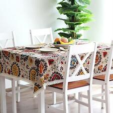 Vintage Lace Trim Tablecloth Party Kitchen Banquet Dining Table Cover Protector
