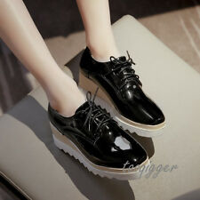 Womens Patent Leather Wedge Heel Oxfords Lace-up Fashion Creeper Comfy Shoes Hot