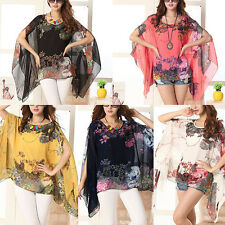 Womens vouge Floral Print Batwing Sleeve Blouse Loose Shawl Cape Chiffon Tops