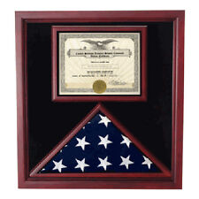 Extra Large Award and Flag Display Case for 3x5 flag Hand Made By Veterans