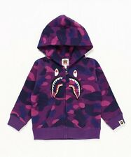 A BATHING APE COLOR CAMO EMBROIDERY SHARK ZIP HOODIE Kids BAPE Original Japan