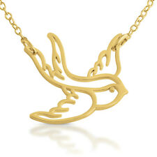 Big Swallow Pendant Necklace #14k Gold Plated Sterling Silver #Azaggi N0169G