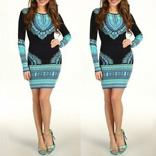 Vintage Women Bandage Bodycon Long Sleeve Evening Sexy Party Cocktail Mini Dress