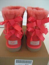 NIB UGG Australia Kids Bailey Bow Button Boots Shrimp Orange Toddler Size 10 11