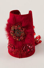 Handmade Exclusive Womens Western Red Suede Beaded Sequined Cuff Bracelet