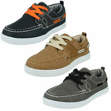 KIDS BOYS JCDEES FLAT LACE UP CASUAL BOAT DECK SHOES N1090