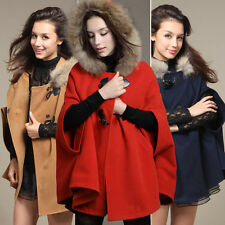Trim Faux Fur Hoodie Coat Plus Size Overcoat Poncho Cape Batwing Jacket Outfit