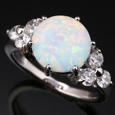 White Fire Opal & Zircon Gemstones Silver Jewelry Rings US# Size 6 7 8 9 T1002