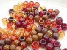 100 Acrylic Pony Beads 9mm Gorgeous Fall Mix or Solid Color Crafts Hair 4mm Hole