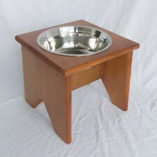"Elevated Dog Bowl Stand - Wooden - 1 Bowl - 250 mm / 10"" Tall - Raised Dog Bowl"