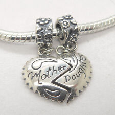 Mother Daughter Love Heart Authentic Genuine S925 Silver Dangle Bead Charm