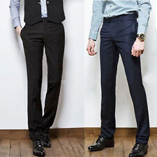 Fashion Mens Slim Fit Casual Formal Straight  Business Pants Smooth Trousers