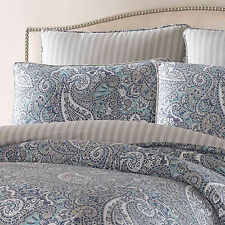100% COTTON SATEEN DELUXE BLUE GREY PAISLEY COMFORTER KING QUEEN 4 PCS SET NEW