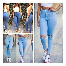 Sexy Womens Stretch High Waist Jeans Trousers Skinny Leggings Pencil Slim Pants