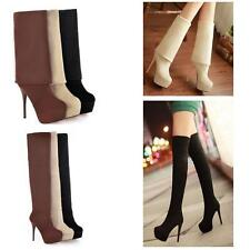 Womens lady High Heel Stiletto Pull On Platform Over Knee High Boot Plus size