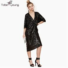 Sexy Womens V-neck Sequnis Ruched Batwing Knee Length Dress Cocktail Party Club