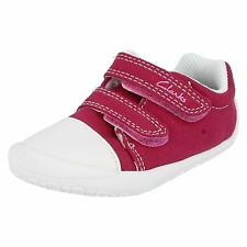 GIRLS CLARKS FIRST DOODLES KIRSTY RIPTAPE STRAP CANVAS SHOES SANDALS HOT PINK