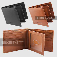 EGNT Trifold Wallet ANTI THEFT RFID GENUINE LEATHER LUXURY BIFOLD SLIM MENS ID