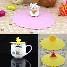 1 pcs Anti-dust Glass Cover Mug Suction Seal Lid Silicone Cartoon Airtight Spoon
