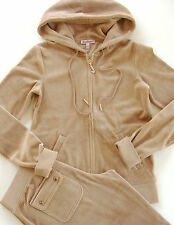 Juicy Couture Velour Tracksuit J Bling Hoodie Pocket Pants Amaretti Beige Khaki