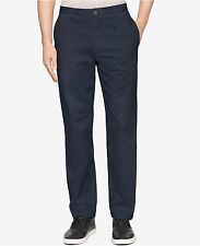 Calvin Klein Big & Tall Pants Mens Officer Navy Blue Flat Front Cotton Chinos